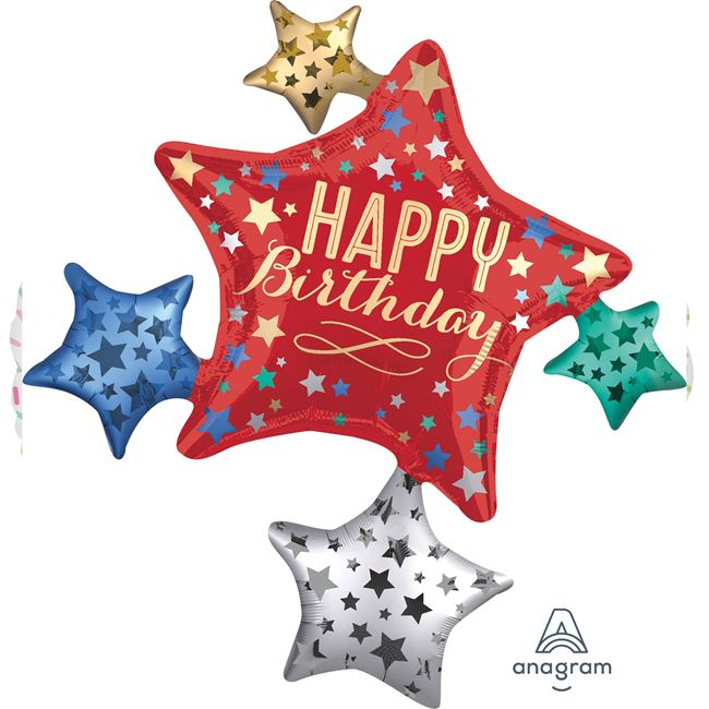 35 inch Foil Balloon Satin Star Cluster Supershape - Happy Birthday