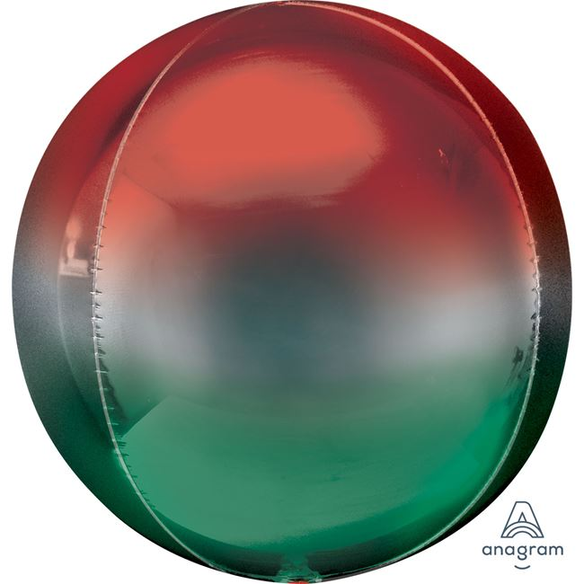 "15"" x 16"" Orbz Foil Balloon - Red Green"