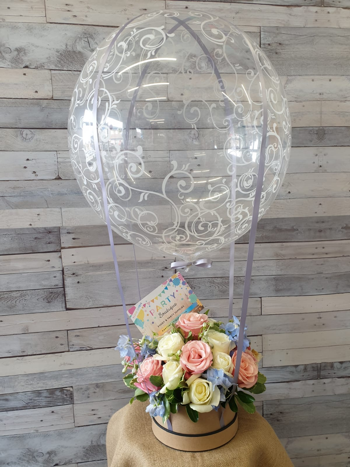 Hot air balloon and hat box flower combo
