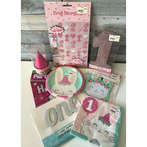 Pink 1st Birthday Party Theme Pack