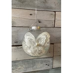 Lace Butterfly Christmas Bauble