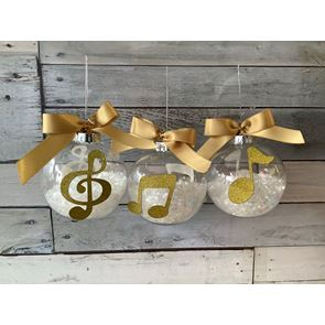 Music Note Baubles - Set of 3