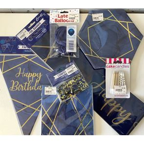 General Birthday Home Pack, Navy Gold