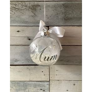 White Feathered Bauble - 8cms