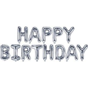 Air Filled Balloon Foil - Happy Birthday Silver