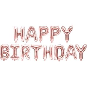 Air Filled Balloon Foil - Happy Birthday Rose Gold