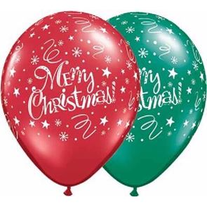 Balloons, Latex, Merry Christmas, 12in, pack of 25, uninflated