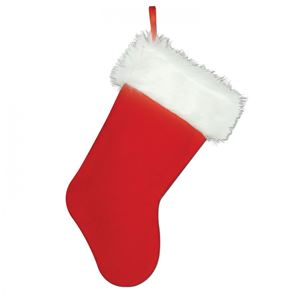 Christmas Stocking, Red with White Trim,  Plush, 15 inches