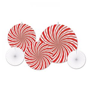 Paper Fans Swirl Red/White Pack of 5