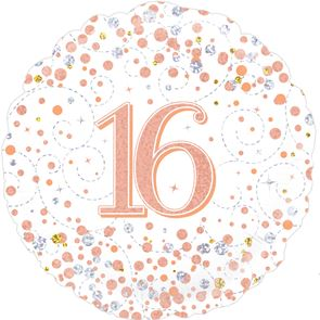 "18"" Foil Balloon 16th Birthday - White & Rose Gold"