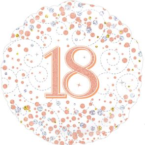 "18"" Foil Balloon 18th Birthday - White & Rose Gold"