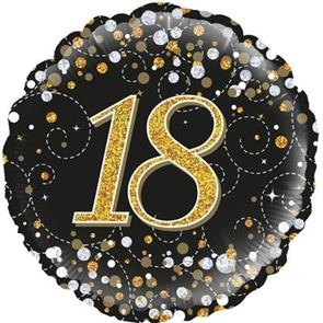 "18"" Foil Balloon 18th Birthday - Black & Gold"