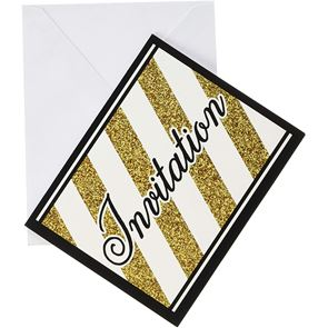 Black and Gold Foldable Invitations with Envelope - Pack of 8