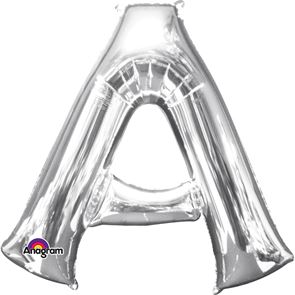 Letter A Silver Air Filled Foil Balloon 16inch / 40cms