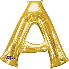 Letter A Gold Air Filled Foil Balloon 16inch / 40cms