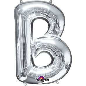 Letter B Silver Air Filled Foil Balloon 16 inch / 40cms