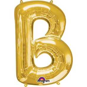 Letter B Gold Air Filled Foil Balloon 16 inch / 40cms