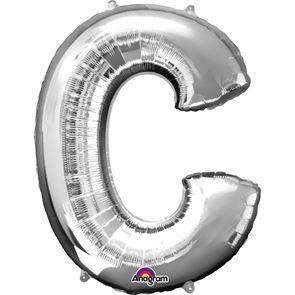 Letter C Silver Air Filled Foil Balloon 16 inch / 40cms