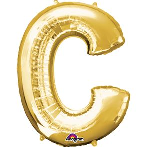 Letter C Gold Air Filled Foil Balloon 16 inch / 40cms