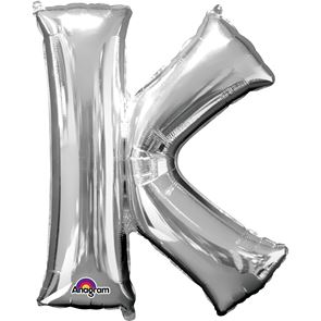 Letter K Silver Air Filled Foil Balloon 16 inch / 40cms