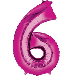 Number 6 Pink Air Filled Foil Balloon 16 inch / 40cms