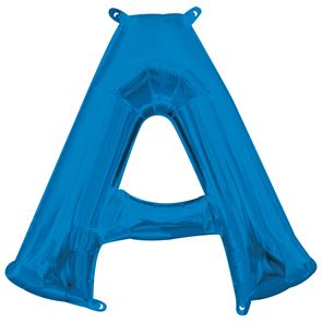 Letter A Blue Air Filled Foil Balloon 16 inch / 40cms