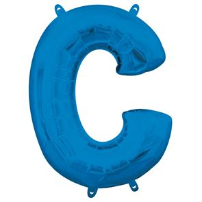 Letter C Blue Air Filled Foil Balloon 16 inch / 40cms