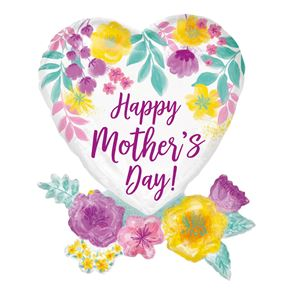 Happy Mother's Day Watercolour Flowers SuperShape Foil Balloon - 23 inch x 30 inch