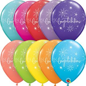 Congratulations Assorted Tropical Coloured Latex Balloons - Pack of 25