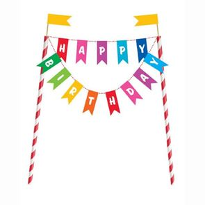 Rainbow Happy Birthday Cake Topper - 8 inch x 6 inch