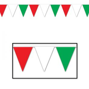 Bunting, Plastic, 12 foot, Red White & Green
