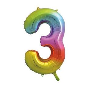 Number 3 Foil Balloon - Rainbow - 34 inches