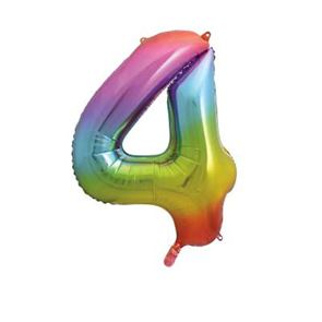 Number 4 Foil Balloon - Rainbow - 34 inches