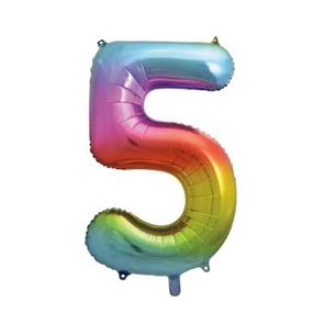 Number 5 Foil Balloon - Rainbow - 34 inches