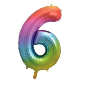Number 6 Foil Balloon - Rainbow - 34 inches