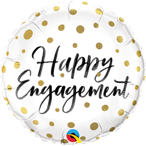 Happy Engagement Gold Dots Foil Balloon - 18 inch