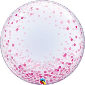 Pink Confetti Dots Balloon Bubble - 24 inch (Supplied uninflated)