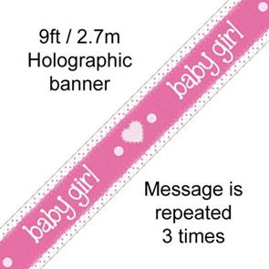 Banner Foil, Baby Girl, Holographic, 9 foot