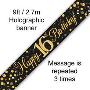 16th Birthday Banner, Black & Gold Holographic