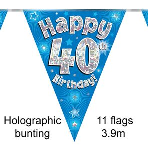 Happy 40th Birthday Bunting - Holographic Blue