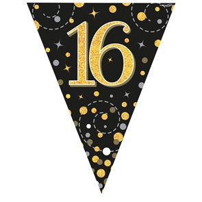Bunting, Sparkling Fizz, 16, Black & Gold, Holographic, 11 flags 3.9m