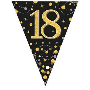 Bunting, Sparkling Fizz, 18, Black & Gold, Holographic, 11 flags 3.9m