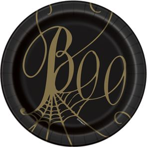 Paper Dessert Plates, Spider Web Design, Black and Gold, Round 7ins, Pack of 8