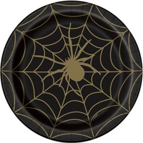 Paper Dinner Plates, Spider Web Design, Black and Gold, Round 9ins, Pack of 8