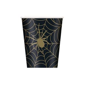 Paper Cups, Spider Web Design, Black and Gold, Pack of 8, 9oz
