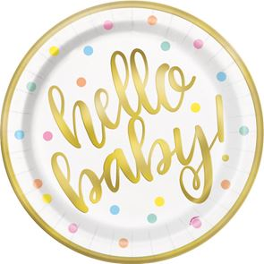 Hello Baby Plates Gold Pack of 8