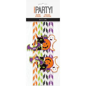 Paper Straws, Striped with Halloween Decals, Pack of 8