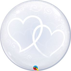 Entwined Hearts Balloon Bubble - 24 inch (Supplied uninflated)