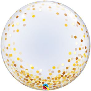 Gold Confetti Dots Balloon Bubble - 24 inch (Supplied uninflated)