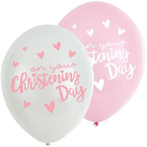 Latex Balloons Christening - Pink & White Pack of 6